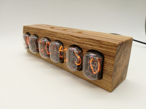 Messenger IN-12 Nixie Clock angle with Nixie tubes on