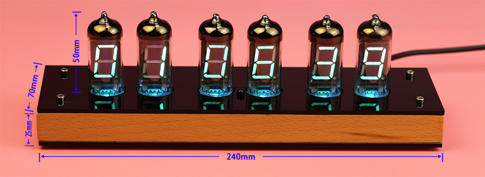 VFD Nixie Tube Clock IV-11 Dimensions